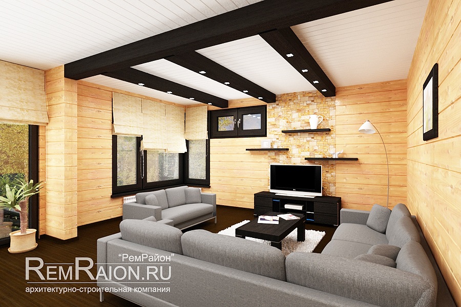 Дизайн гостиной фото в деревянном доме
